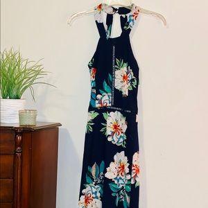navy, floral maxi dress